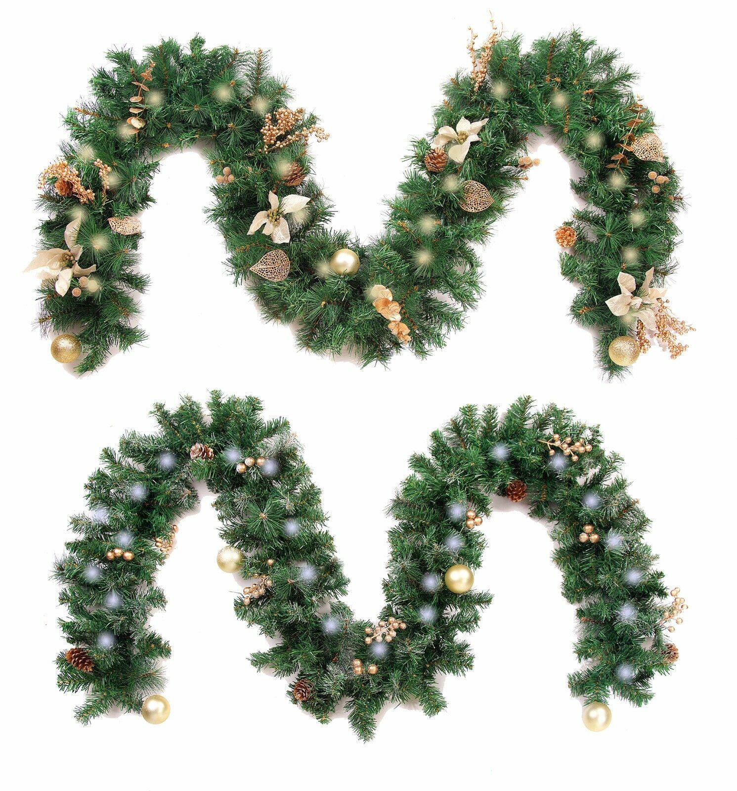 Details About Best Artificial Decorated Gold Or Gold Frosted Luxury Christmas Garland Lights