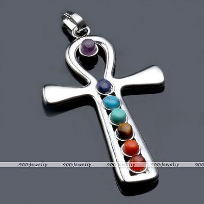 1x 7 Resin Cross Ankh Healing Chakra Balancing Gemstone Point Bead Charm Pendant