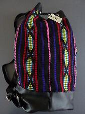 NEU Primark XXL ETHNO Boho RUCKSACK Bucket Bag Vintage Stoff Tasche schwarz bunt