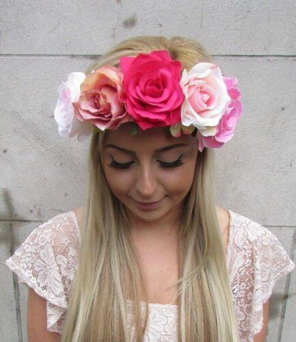 Large Hot Blush Pink Rose Flower Headband Festival Garland Hair Crown Boho 5114