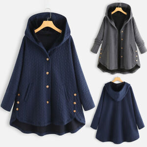Women-Lady-Plus-Size-Casual-Coat-Button-Pockets-High-Low-Long-Sleeve-Hooded-Coat