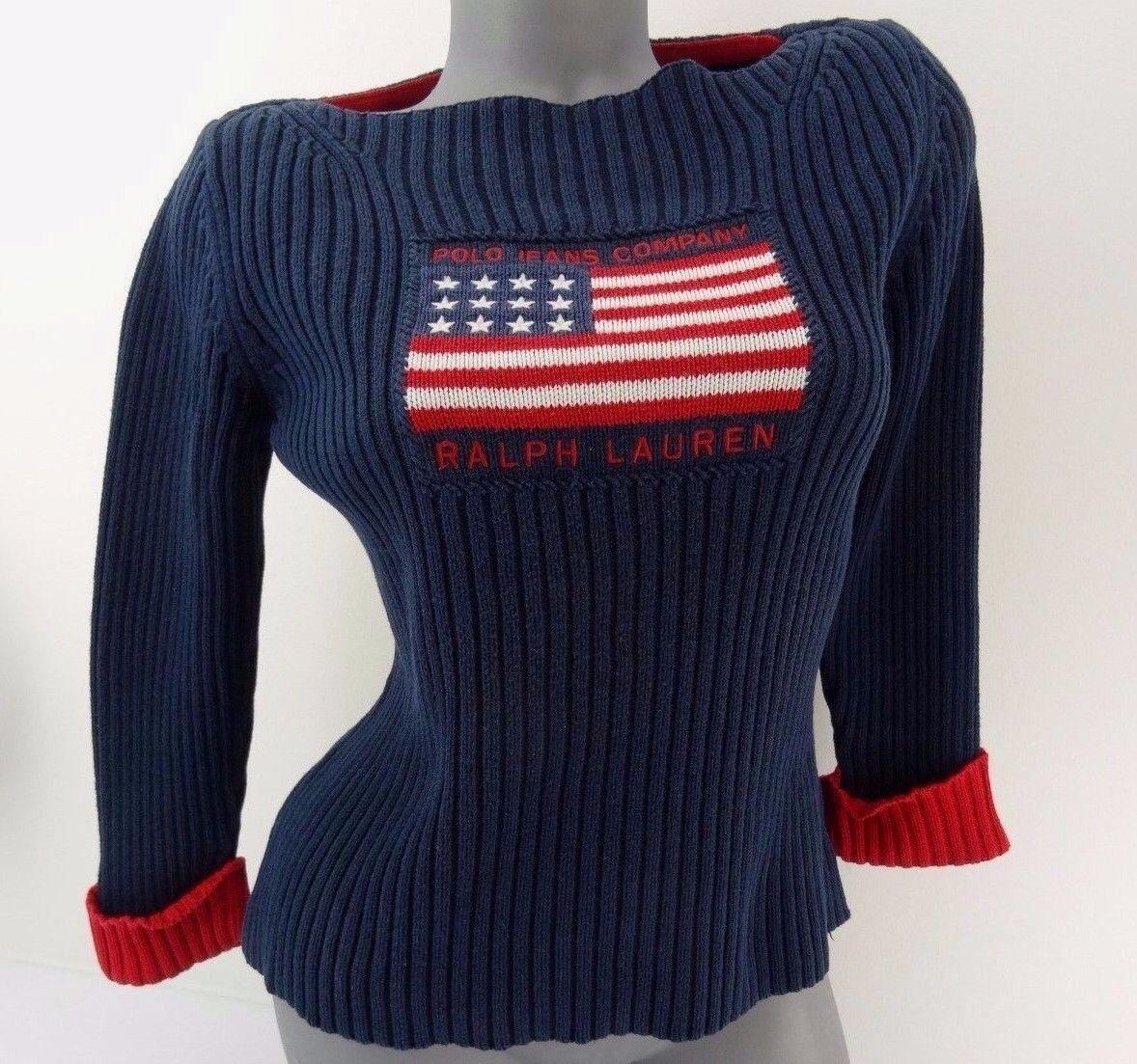 Ralph Lauren Sweater American flag Womens size M Navy bluee