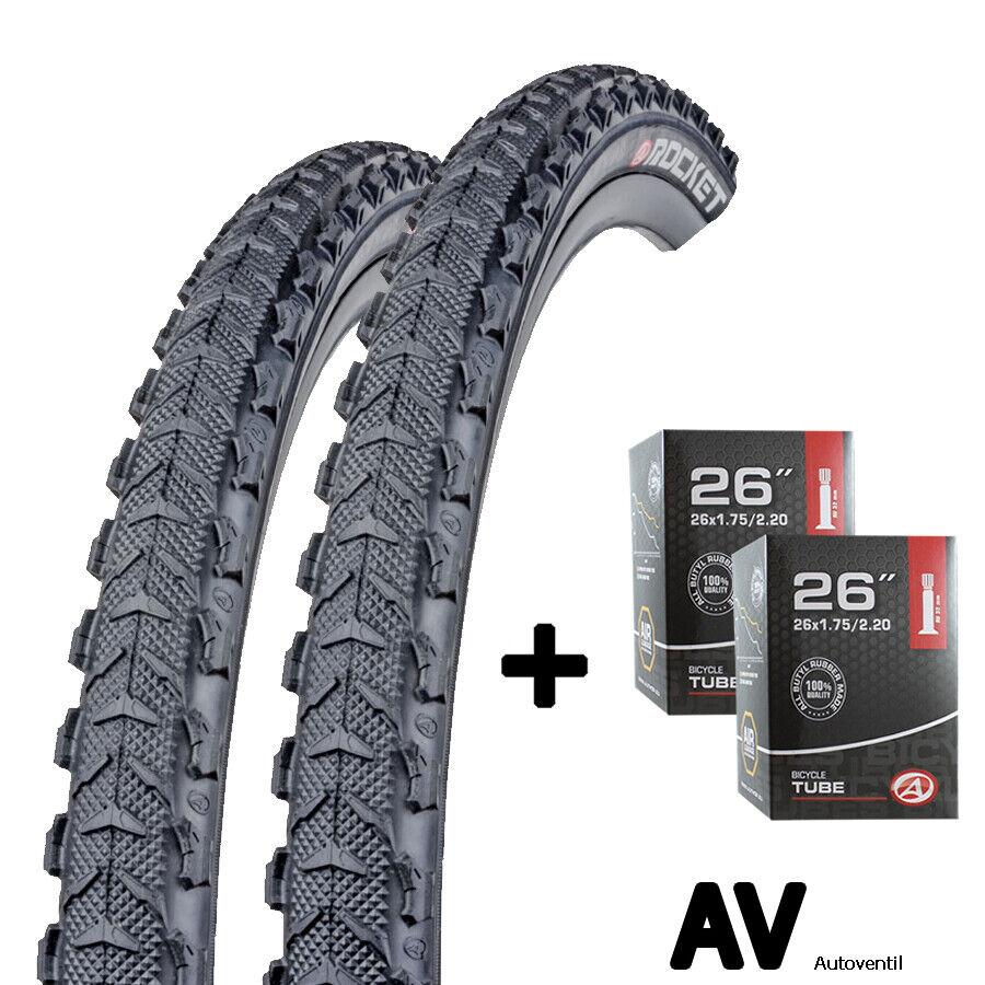 2x Author Fahrrad Reifen 26 Zoll 54-559 mit Schlauch Schlauch Schlauch AV Set für vorn und hinten  | eine große Vielfalt  807083