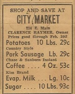Details about DAILY NEWS BOWLING GREEN, KY FEBRUARY 6, 1951 AD FOR CLARENCE  RAYMER CITY MARKET