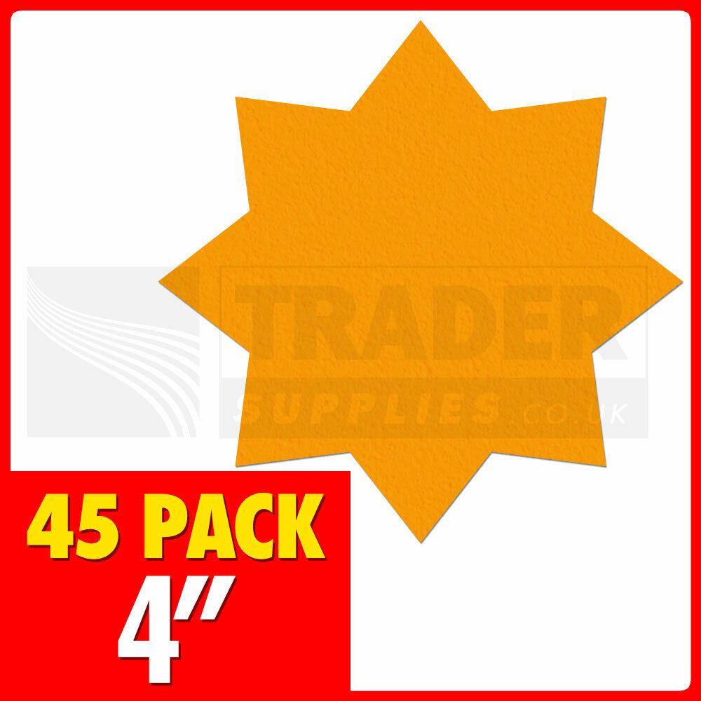 Neon Fluorescent Stars Price Display Sales Cards day glo Labels Shop Starburst
