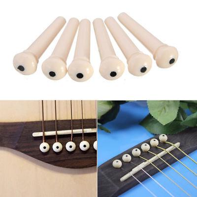 6 X White Guitar Bridge Pins for Acoustic Guitar Plastic String End Peg