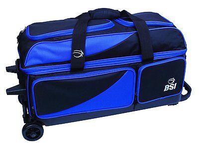 BSI Triple Roller 3 Ball Bowling Bag Black//Blue