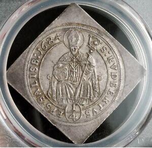 1-Of-1-1684-Salzburg-Maximilian-Gandolf-Silver-Klippe-1-4-Thaler-Coin
