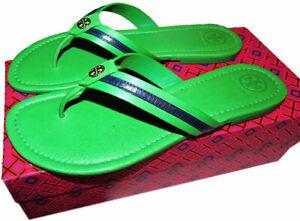 46a3ebd4826 Tory Burch MARITIME Flat Thongs Sandals Slide Mules Green Flip Flop ...