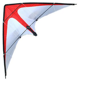 NEW-1-2m-Dual-Line-Red-White-Stunt-Kite-With-Handle-And-Line-Outdoor-Fun-Sports