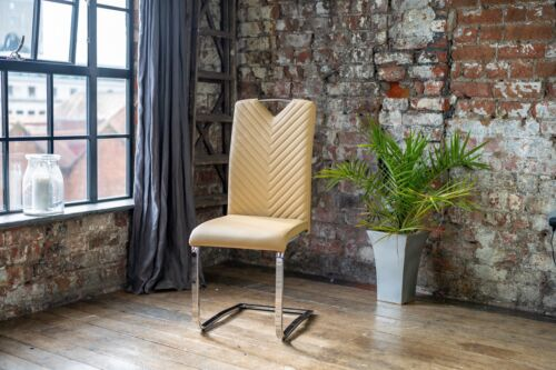 8 Stunning Luxury Dining Chair In Caramel With Chrome Cantilevered Legs Seat 8