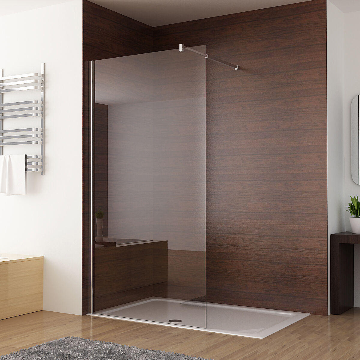 Walk in Shower enclosure Wet room Panel 8mm NANO Glass 1200 1000 900 800 760 mm