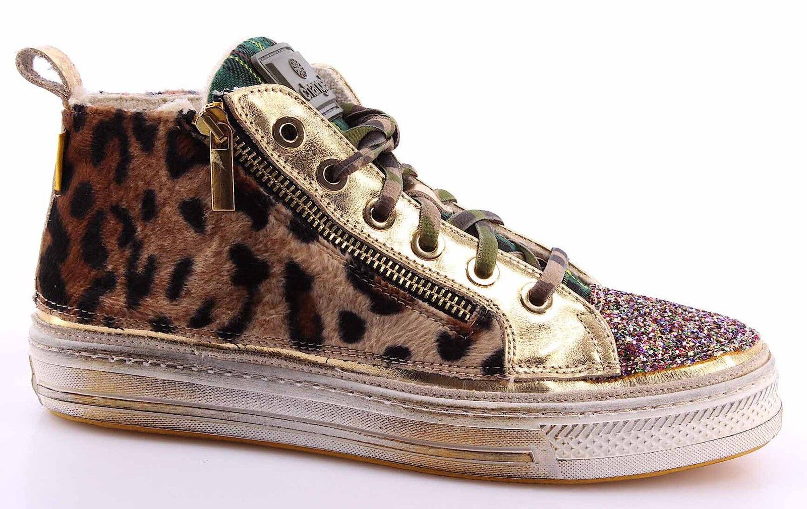Zapatos casuales salvajes Barato y cómodo Scarpe Zapatillas Alte Donna CHANGE! RollvW Specchio Oro Glitter Multico Made IT
