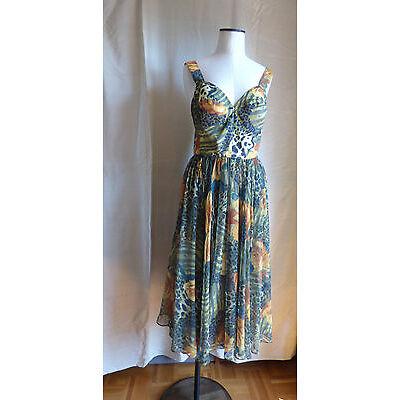 VINTAGE robe bustier Rétro 60's légère voile multicolore T 38   parfait état