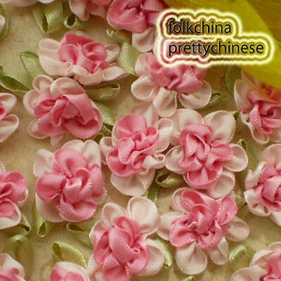 Pink Polyester Duplex Flower Sewing Scrapbooking Appliques Trim Craft JM2065