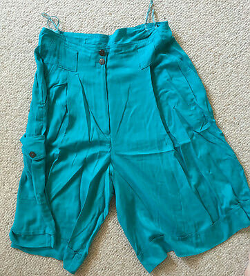 *** Top Leggero Donna Bermuda-pantaloni Turchese 40 Viscosa Pantaloncini Estate Pantaloni Corti-mostra Il Titolo Originale