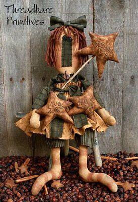 PATTERN Primitive LARGE Raggedy Ann Annie Doll /& Stitchery Star Wand Star Ornies