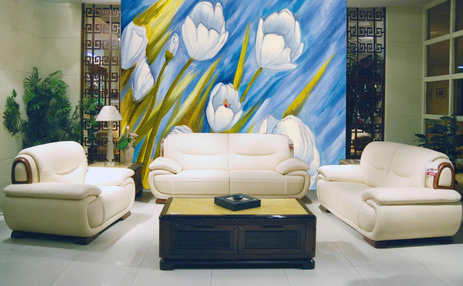 3D Gemälde im weißen tulpen 3 Fototapeten Wandbild Fototapete BildTapete Familie