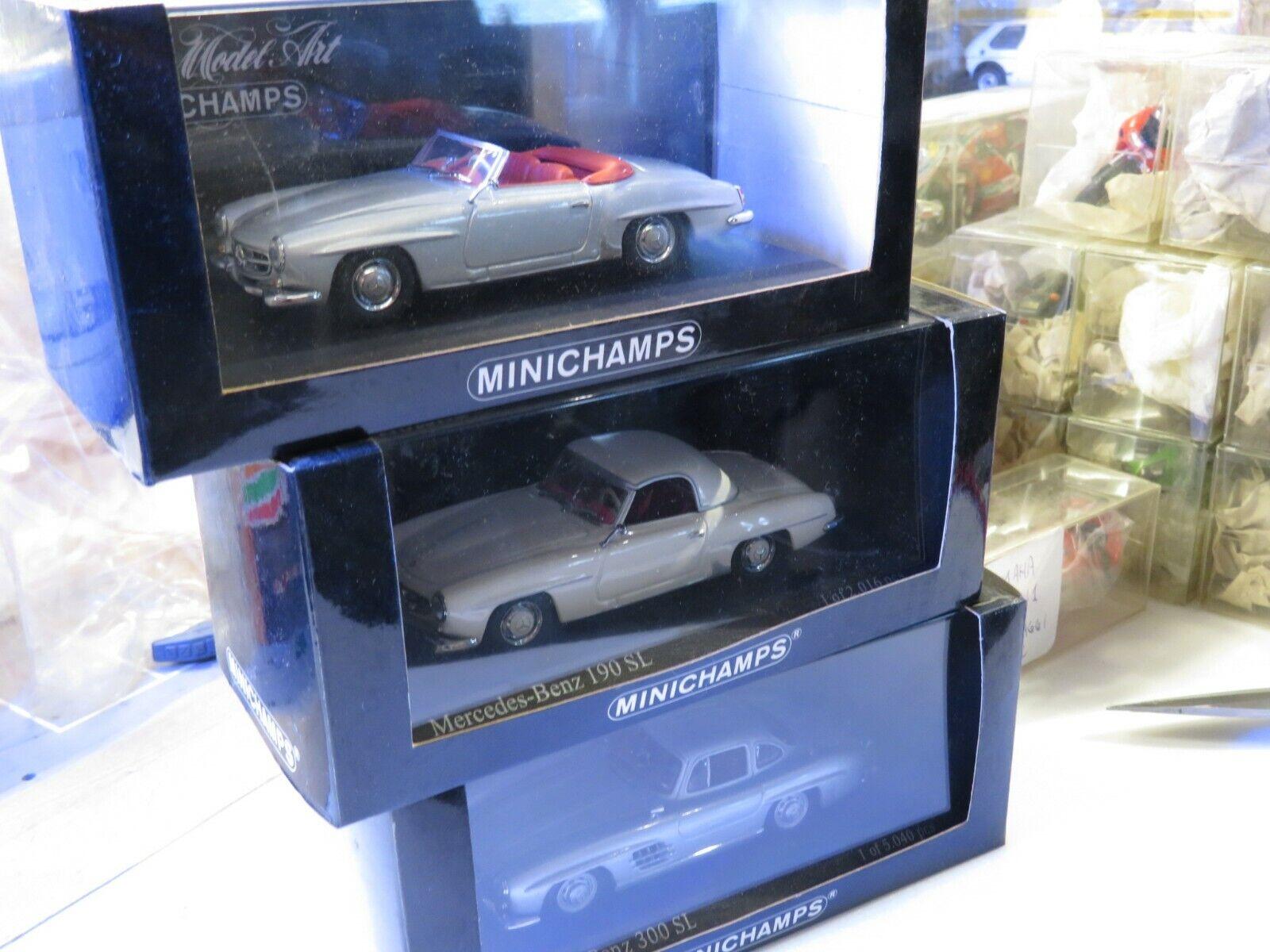 1 43 Minichamps Mercedes Benz 300 SL + Roadster + 190 SL diecast (3pcs)