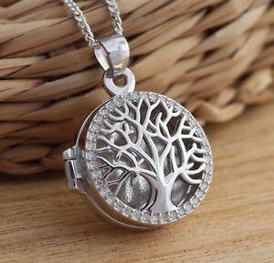 1eca41d7cb00 925 Sterling Silver Tree of Life Locket CZ Pendant Necklace ...