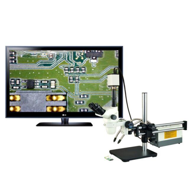 OMAX 2X-270X USB3 18MP Simal-Focal Zoom Stereo Microscope on Ball-Bearing Boom+150W Dual Fiber Light