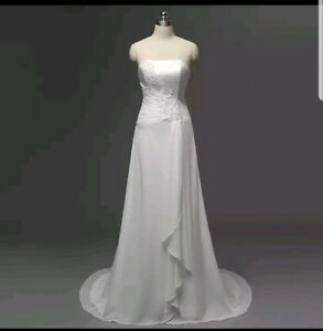 UK-Simple-White-Ivory-Chiffon-Beach-Wedding-Dress-Bridal-Evening-Dress-Size-6-16