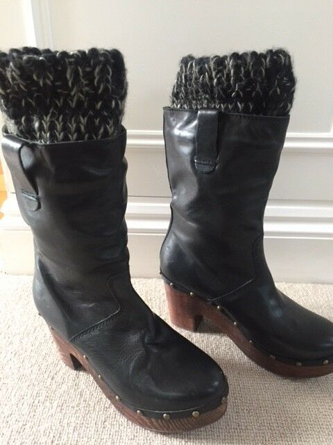 Black Leather Boots from TopShop. Size 6