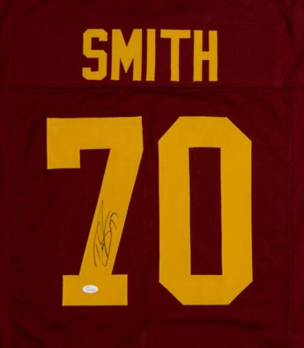 JSA Witnessed Auth Tyron Smith Autographed Burgundy College Style Jersey