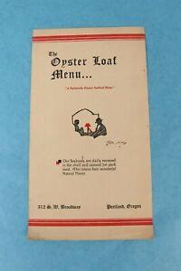VINTAGE 1937 THE OYSTER LOAF RESTAURANT DINNER MENU PORTLAND, OREGON