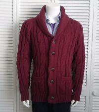 NEW Mens SIZE 3XL ALPACA Burgundy Red Cable Shawl Collar Cardigan Sweater PERU