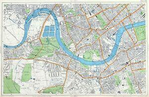 BARNES, FULHAM, CHELSEA, BATTERSEA, Original Antique City Map. on