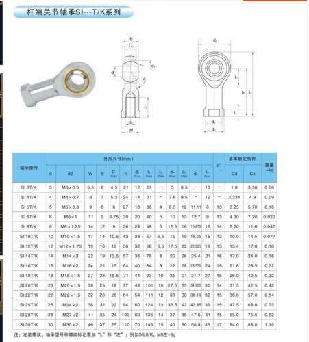 10pcs Rod End Joint Bearing Metric Thread M6x1.0mm Female Right Hand Thread 6mm