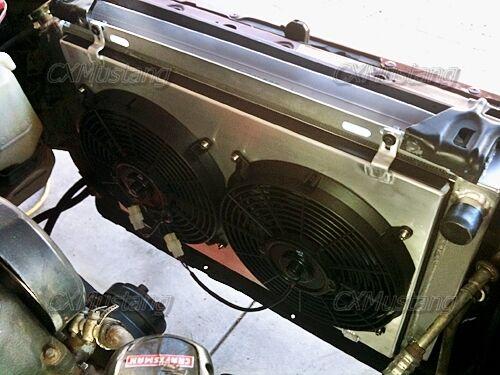 "Aluminum 3 Rows Radiator Shroud 12/"" Fans For 79-93 Ford Mustang"