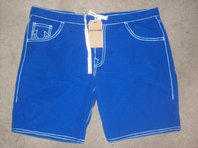 326eab0c95 True Religion Ricky Short Big T Blue Board Shorts Swim Trunks Nwt Size 44  $98.00