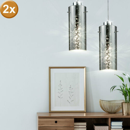 2x Hänge Leuchten Wohn Zimmer Pendel Decken Lampen 3D Glas Beleuchtung silber