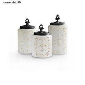 ceramic canister set white kitchen canisters storage flour sugar coffee 3 lids ebay. Black Bedroom Furniture Sets. Home Design Ideas