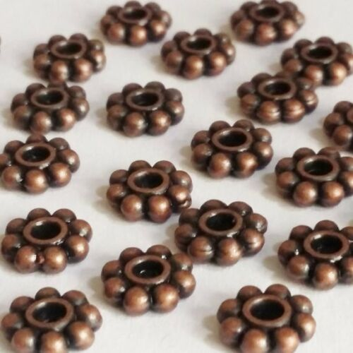 B16261 25pcs Antique Copper Flower Ring Spacer Beads 7mm Jewellery Supplies