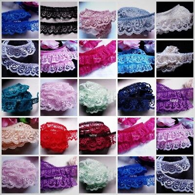 1 inch wide ruffle lace trim =PRICE  FOR 1 YARD= select color//