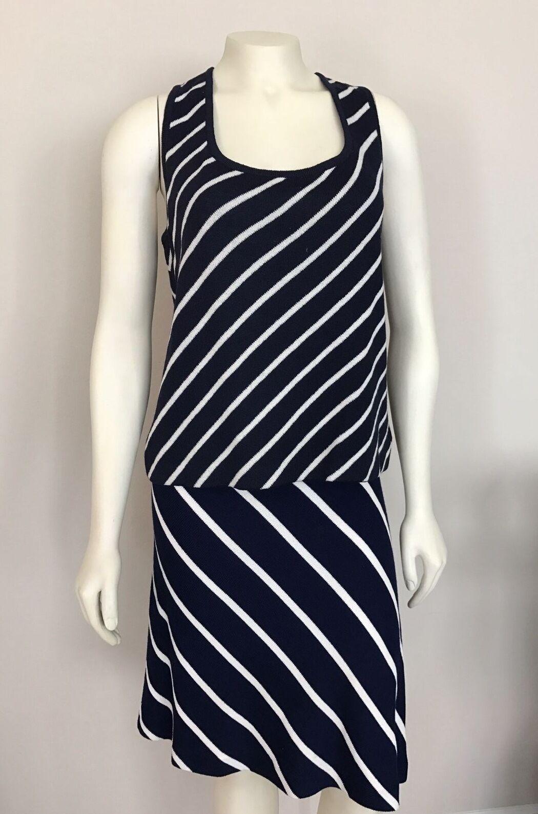 ST. JOHN Navy Blau & Weiß Diagonal Striped Tank Top Größe S & Skirt Größe 6 Set