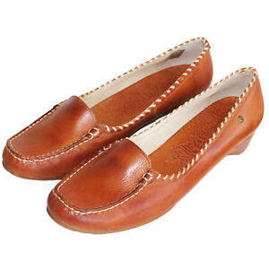 RRP-89-PIKOLINOS-WOMENS-COURT-SHOES-SLIP-ON-HEELS-TAN-FARBE-LEATHER-BRANDY-UK-7