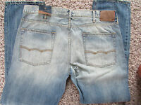 American Eagle Slim Straight Jeans Mens 31x34 Destroyed Light Wash Free Ship