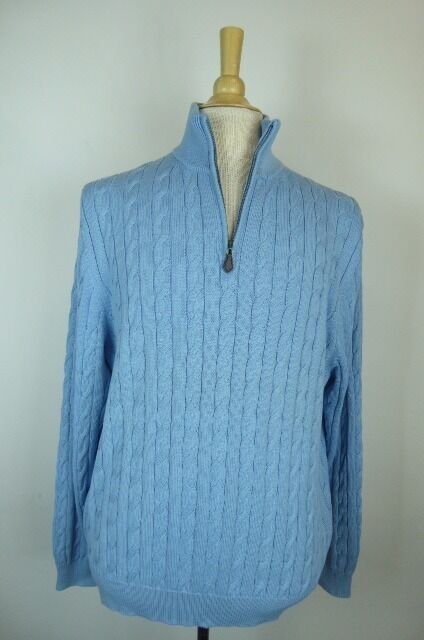 NWT BROOKS BROTHERS Blau PIMA COTTON CABLE HALF ZIP SWEATER SHIRT PULLOVER XL
