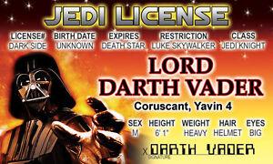Darth-Vader-of-STAR-WARS-novelty-collectors-card-Drivers-License