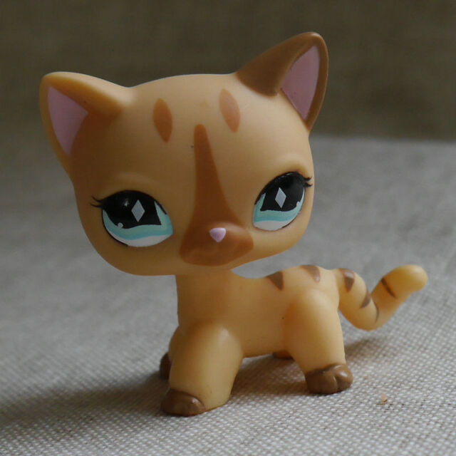 Littlest Pet Shop Toys Short Hair Cat Cream Stripe Kitty Diamond Eyes LPS #886