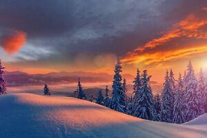 A1-Winter-Sunset-Poster-Art-Print-60-x-90cm-180gsm-Sunrise-Snow-Gift-12335