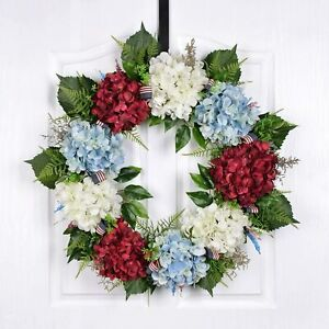 21 Inch Hydrangea Wreath Patriotic Red White Blue American Independence Glory