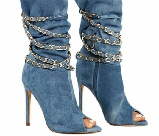 Plus Size Women Metal Chain Peep-toe Boots Ladies Thin High Heels Party shoes 9