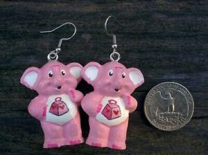 """CUSTOM MADE 1.5"""" Dangle Drop Earring CARE BEAR COUSIN Pair Lotsa Elephant (2)"""