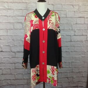 Globe-Trotter-Tunic-Top-Women-Small-Oversize-Boho-Button-Floral-Pocket-Lagenlook