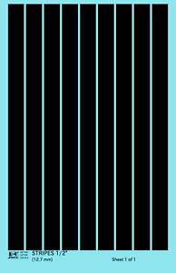K4 G Decals Black 1//2 Inch Stripes Set